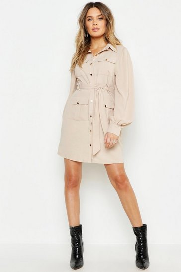 Ecru Utility Pocket Detail Shirt Dress