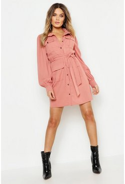 Womens Rose Utility Pocket Detail Shirt Dress