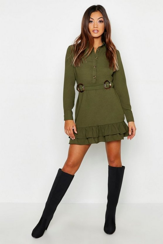 Khaki Double Buckle Peplum Hem Shirt Dress