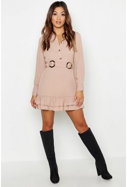 Womens Sand Double Buckle Peplum Hem Shirt Dress