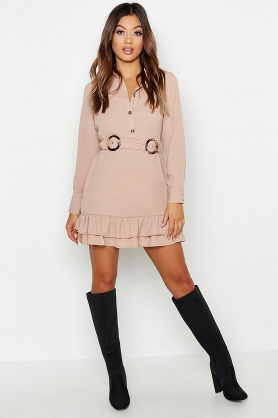 Double Buckle Peplum Hem Shirt Dress