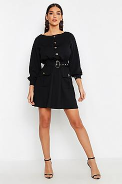 Button Front Belted Skater Dress