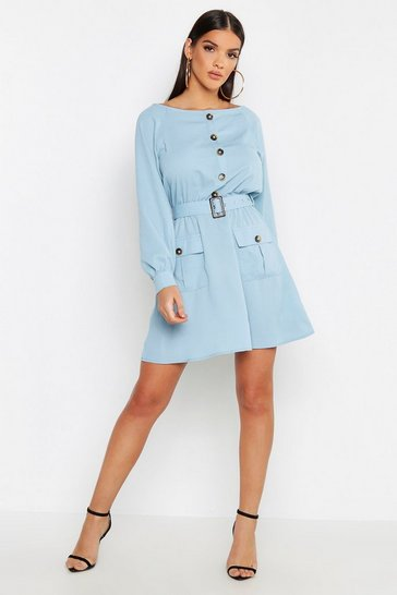 Womens Powder blue Button Front Belted Skater Dress