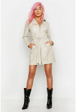 Womens Ecru Leather Look Utility Blazer Dress
