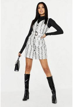 Womens Grey Snake Print Leather Look Pinafore Dress