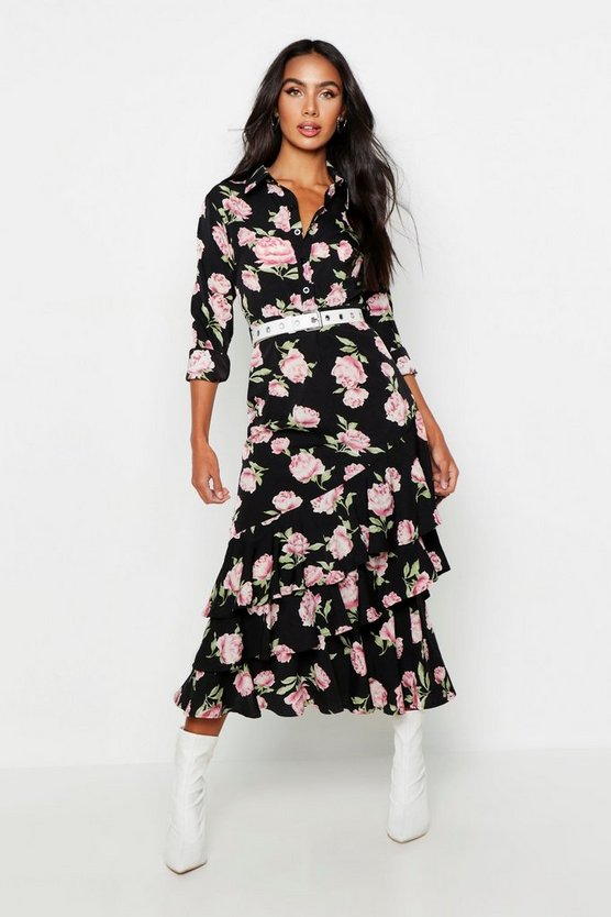 Womens Black Floral Ruffle Hem Shirt Dress