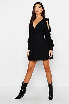 Ruffle Sleeve Button Front Skater Dress