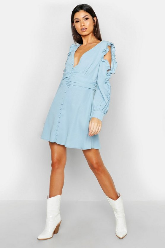 Powder blue Ruffle Sleeve Button Front Skater Dress