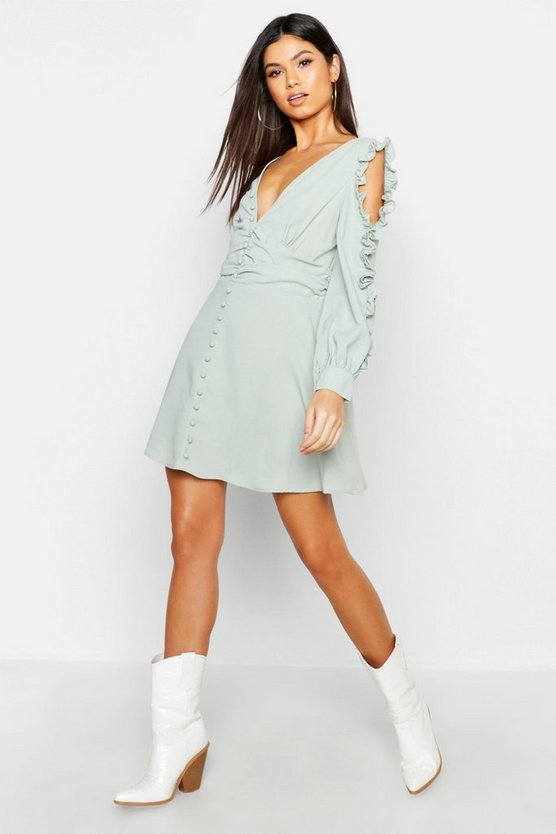 Womens Sage Ruffle Sleeve Button Front Skater Dress