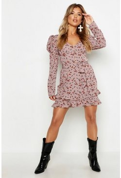 Womens Mauve Rouched Sleeve Floral Tea Dress