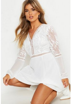 Womens Ivory Crochet Lace Insert Skater Dress
