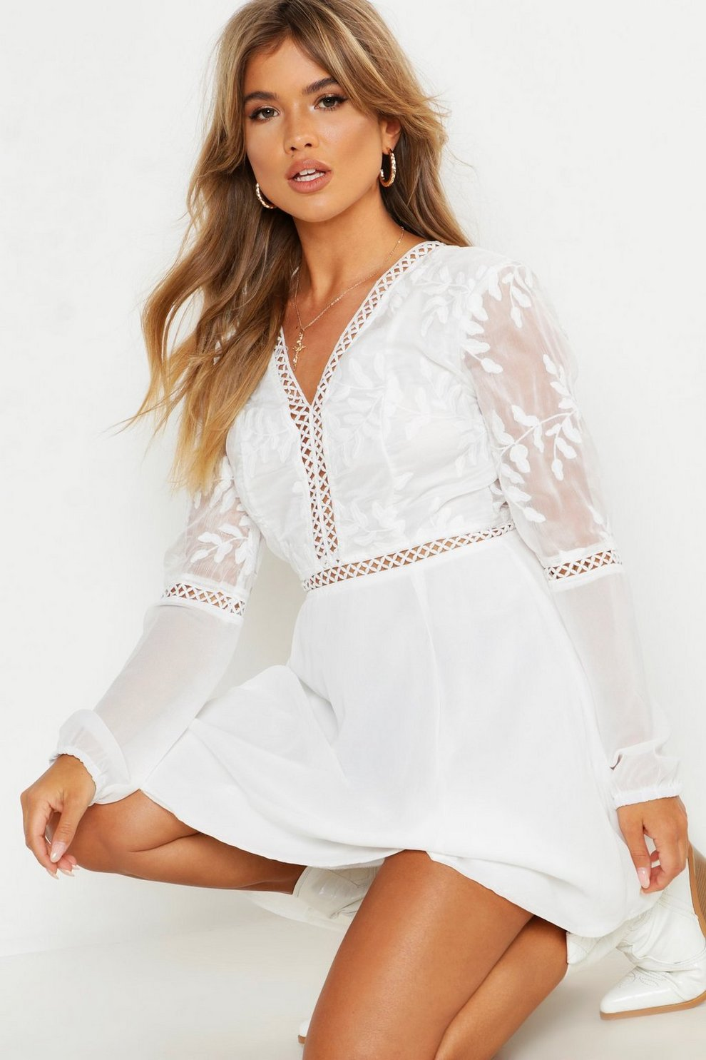 3e9d3bbd332d Crochet Lace Insert Skater Dress | Boohoo