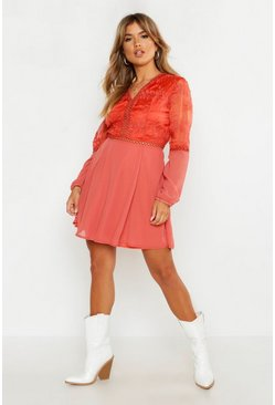 Rust Crochet Lace Insert Skater Dress