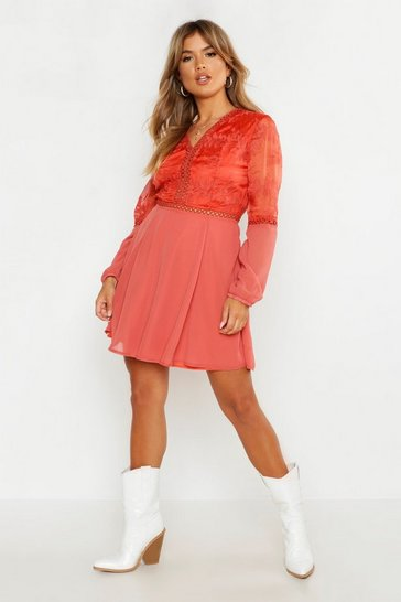Womens Rust Crochet Lace Insert Skater Dress