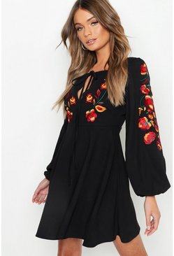 Womens Black Embroidered Blouson Sleeve Skater Dress