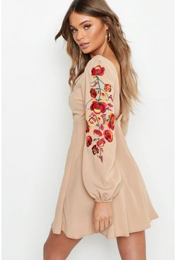 Womens Stone Embroidered Blouson Sleeve Skater Dress