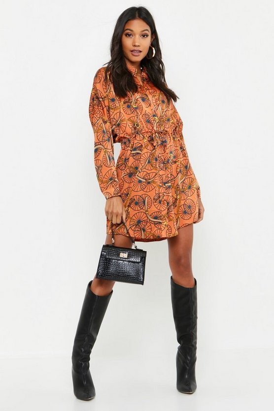 Womens Cinnamon Chain Print Luxe Shirt Dress