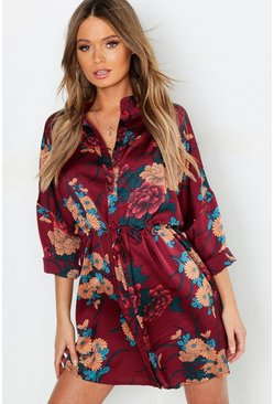Berry Floral Print Luxe Shirt Dress