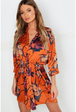 Womens Cinnamon Floral Print Luxe Shirt Dress