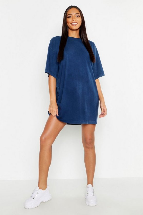 Womens Navy Washed Oversized T-Shirt Dress
