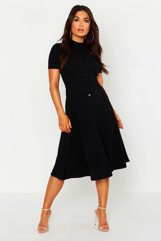 1960s Evening Dresses, Bridesmaids, Mothers Gowns Womens High Neck Button Detail Skater Dress - Black - 12 $31.50 AT vintagedancer.com