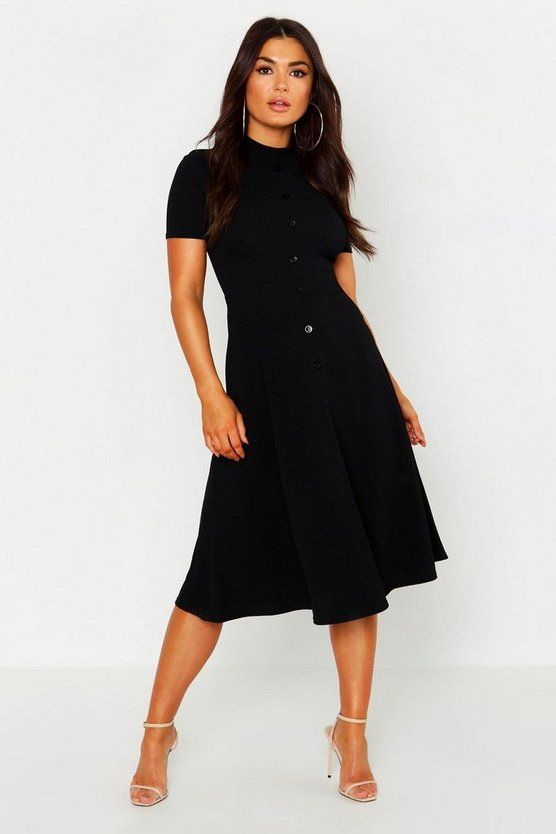 Womens Black High Neck Button Detail Skater Dress