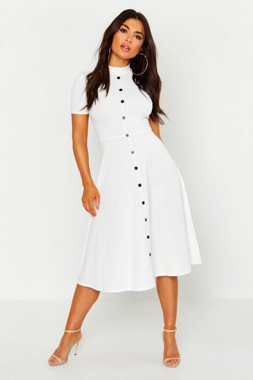 Womens Ivory High Neck Button Detail Skater Dress