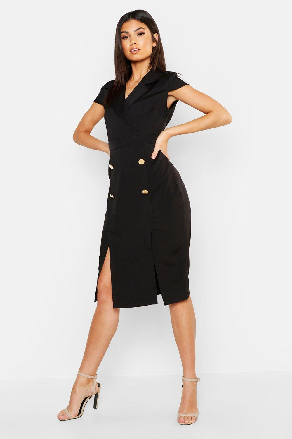 Button Front Tailored Midi Dress