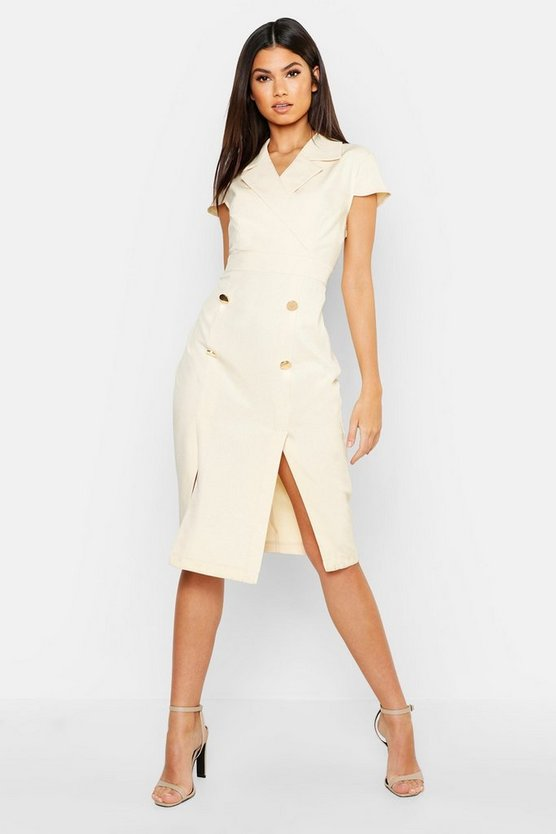 Womens Sand Button Front Tailored Midi Dress