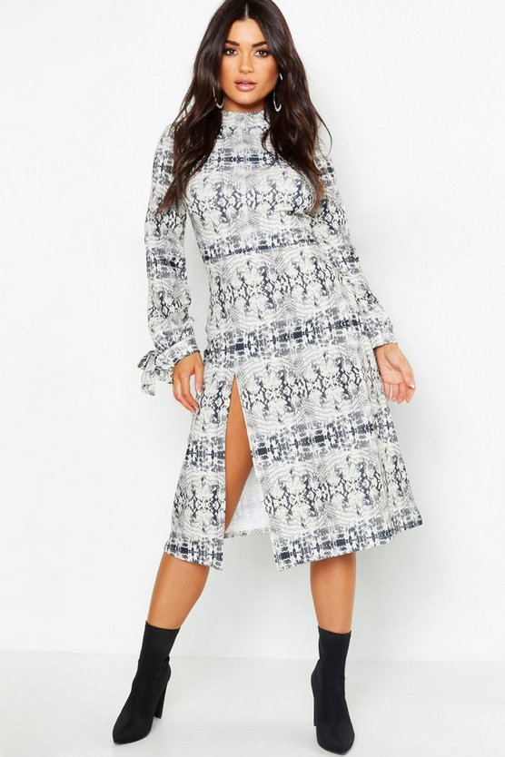 Thigh Split High Neck Fit + Flare Midi Dress