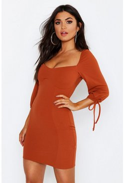 Womens Terracotta Sweetheart Balloon Sleeve Mini Dress