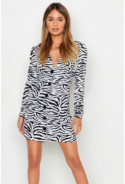 Womens Black Zebra Print Button Through Shift Dress