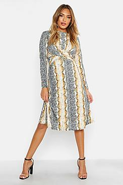 Mixed Animal Print Knot Front Roll Neck Skater Dress