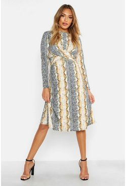 Ecru Mixed Animal Print Knot Front Roll Neck Skater Dress