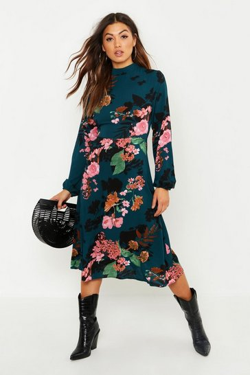 Womens Emerald Floral Volume Sleeve Skater Dress