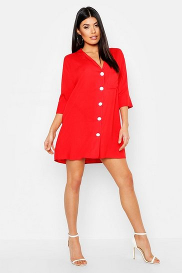 Womens Red Pearl Button Revere Collar Shirt Dress