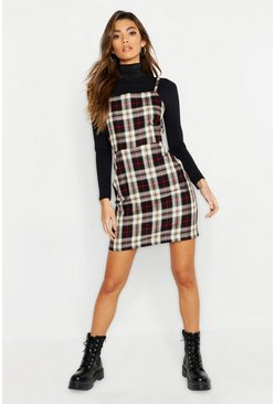 Womens Black Tartan Square Neck Woven Pinafore Dress