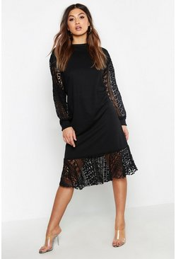 Black Crochet Balloon Sleeve Sweat Dress
