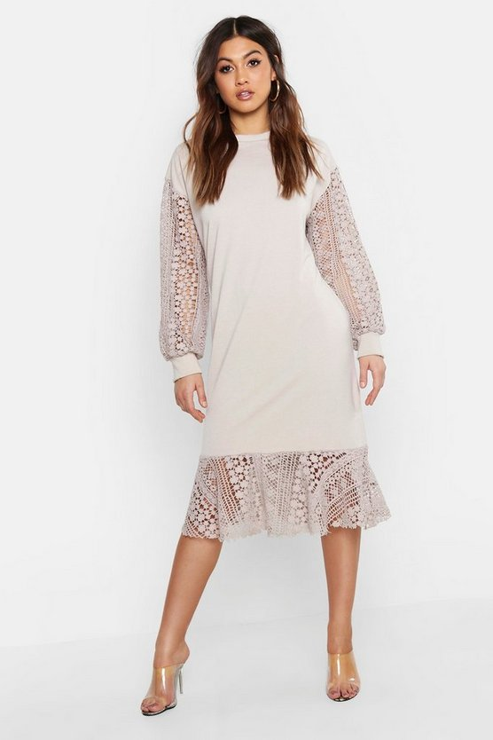 Womens Ecru Crochet Balloon Sleeve Sweat Dress