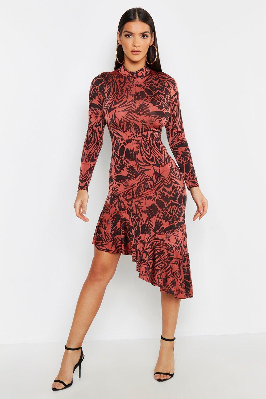 Animal Print Ruffle Hem High Neck Midi Dress