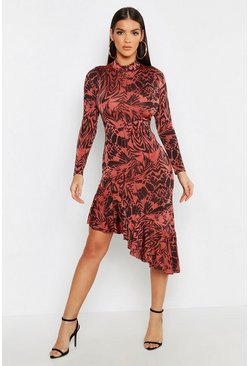 Womens Brick Animal Print Ruffle Hem High Neck Midi Dress