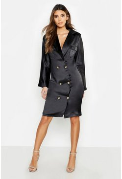 Womens Black Satin Oversized Utility Blazer Dress
