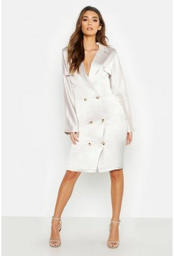 Womens Ecru Satin Oversized Utility Blazer Dress