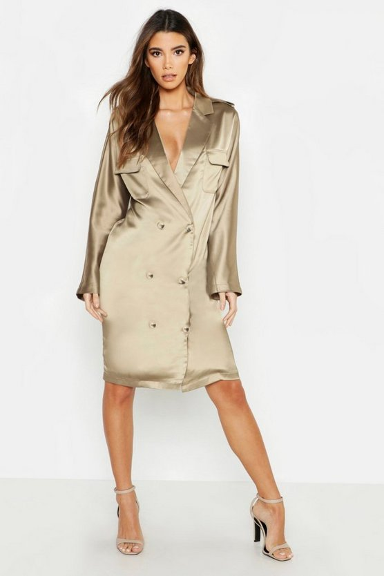 Womens Khaki Satin Oversized Utility Blazer Dress