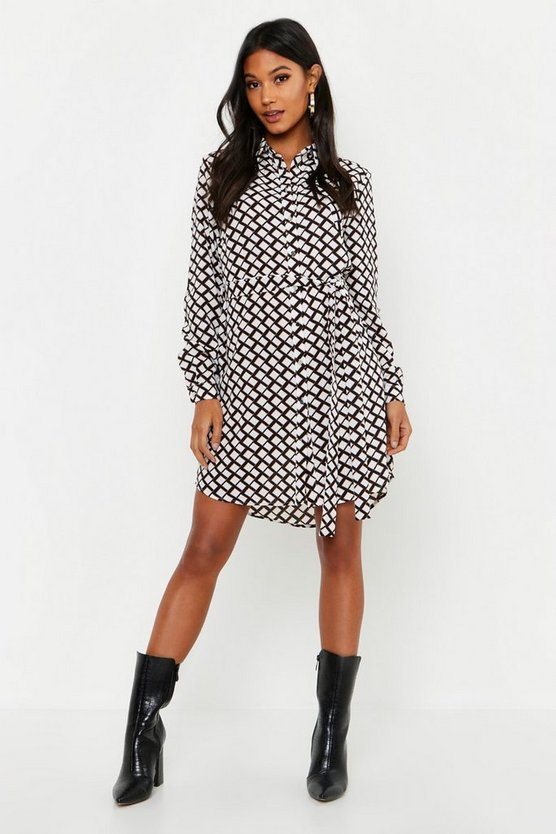 Mono Geo Button Woven Shirt Dress