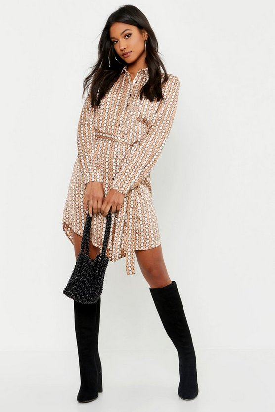 Sand Geo Button Front Woven Shirt Dress