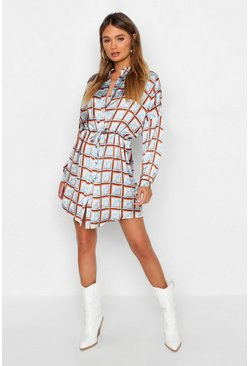 Womens Powder blue Geo Print Luxe Shirt Dress