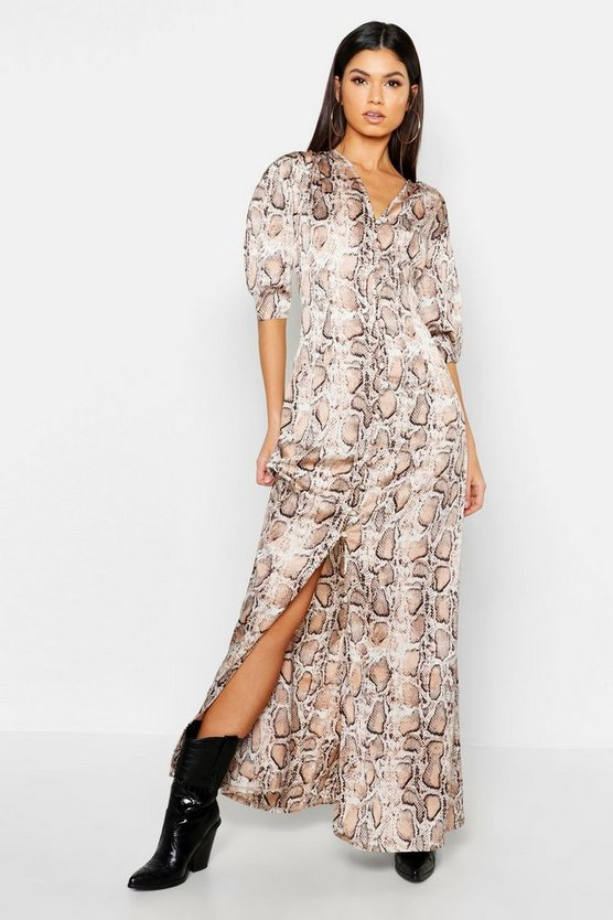 Nude Button Through Snake Print Maxi Dress