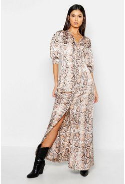 Womens Nude Button Through Snake Print Maxi Dress