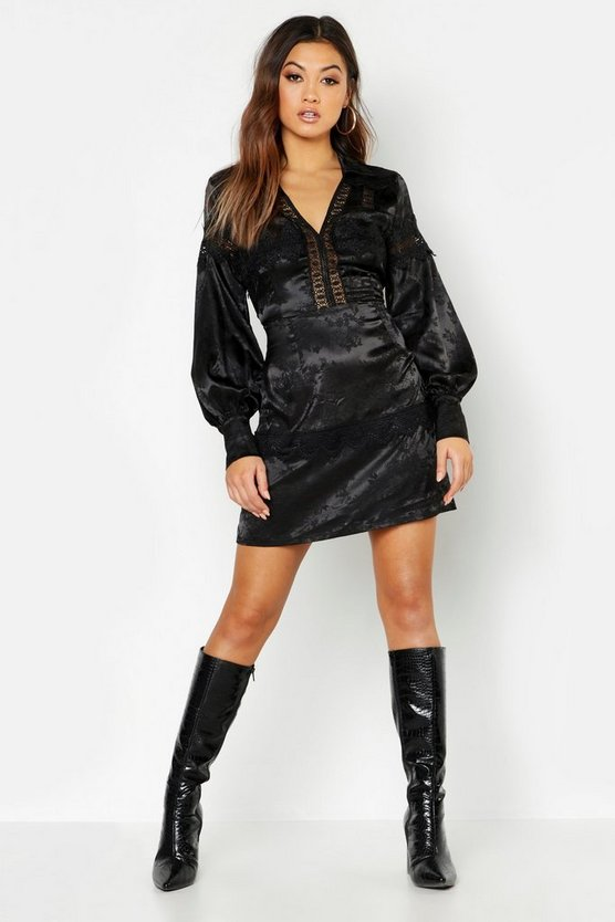 Satin Jacquard Lace Trim Shirt Dress